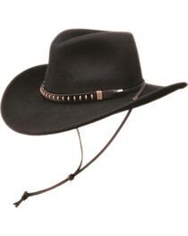 Black Creek Crushable Wool Felt Hat w/ Chincord, , hi-res
