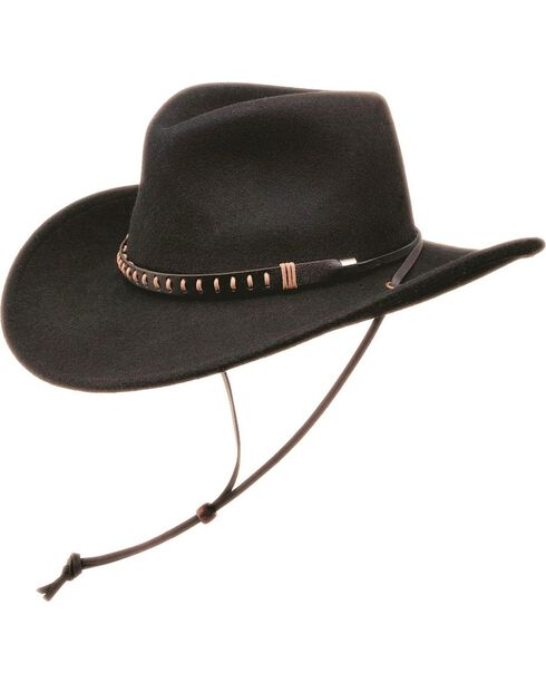 Black Creek Crushable Wool Felt Hat w/ Chincord, , hi-res