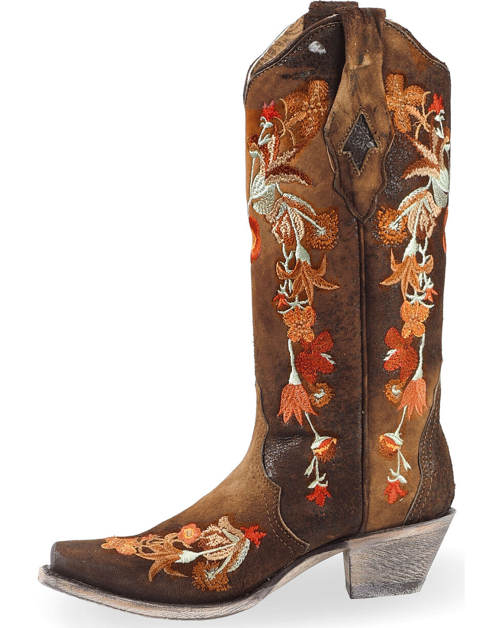 Corral Women's Floral Embroidered Lamb Leather Cowgirl Boots - Snip Toe, , hi-res