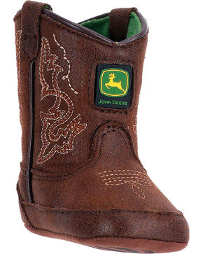 John Deere Infant Embroidered Crib Western Boots, Chocolate, hi-res