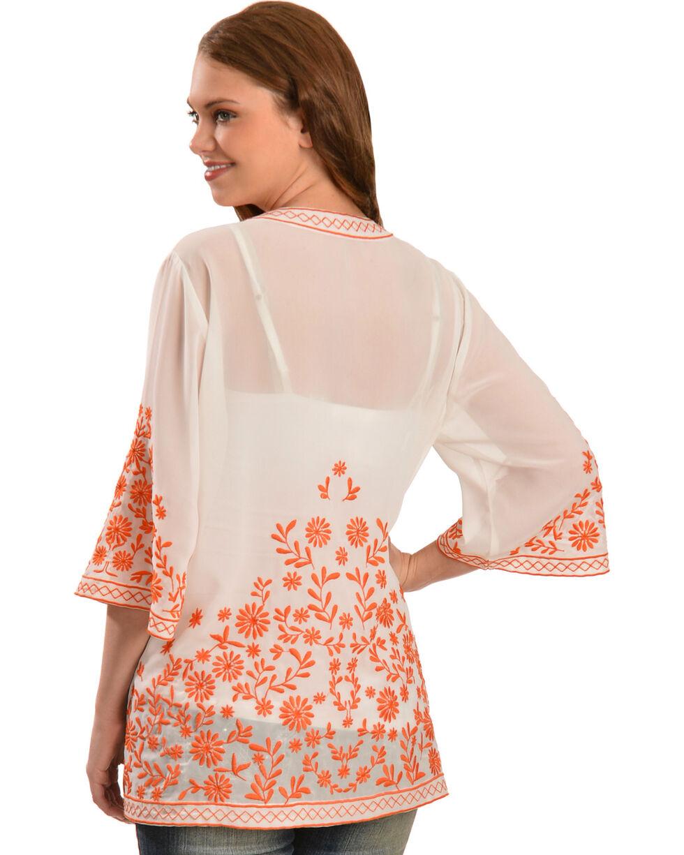 Truly 4 You Orange Embroidered Kimono , Ivory, hi-res