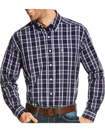 Ariat Men's Navy Plaid Zandow Western Shirt , , hi-res