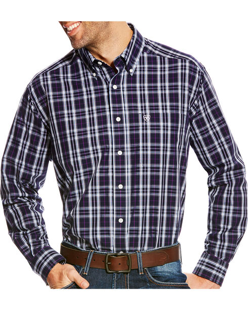 Ariat Men's Navy Plaid Zandow Western Shirt , Multi, hi-res