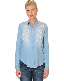 Grace in LA Women's Embroidered Long Sleeve Denim Shirt , , hi-res
