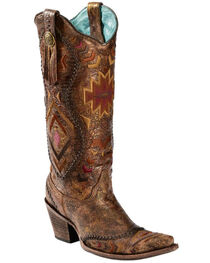 "Corral Boots Women's 15"" Aztec Embroidered Western Boots, , hi-res"