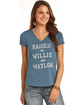 Rock & Roll Cowgirl Women's Willie & Waylon Tee, Blue, hi-res