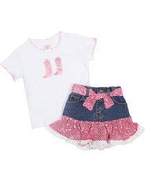Kid's Korral Girl's Sequin Ruffle Shirt and Skirt Set, , hi-res