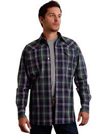 Roper Men's Amarillo Collection Green Plaid Snap Long Sleeve Shirt, , hi-res