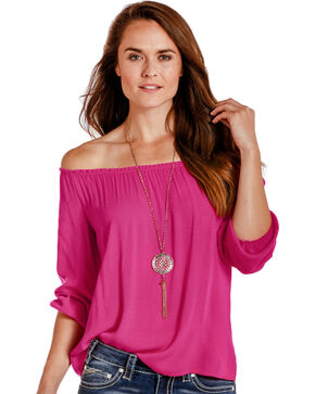 Panhandle Women's Long Sleeve Peasant Top, Pink, hi-res