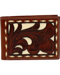 Nocona Men's Floral Bone Buck Inlay Bi-Fold Wallet , , hi-res