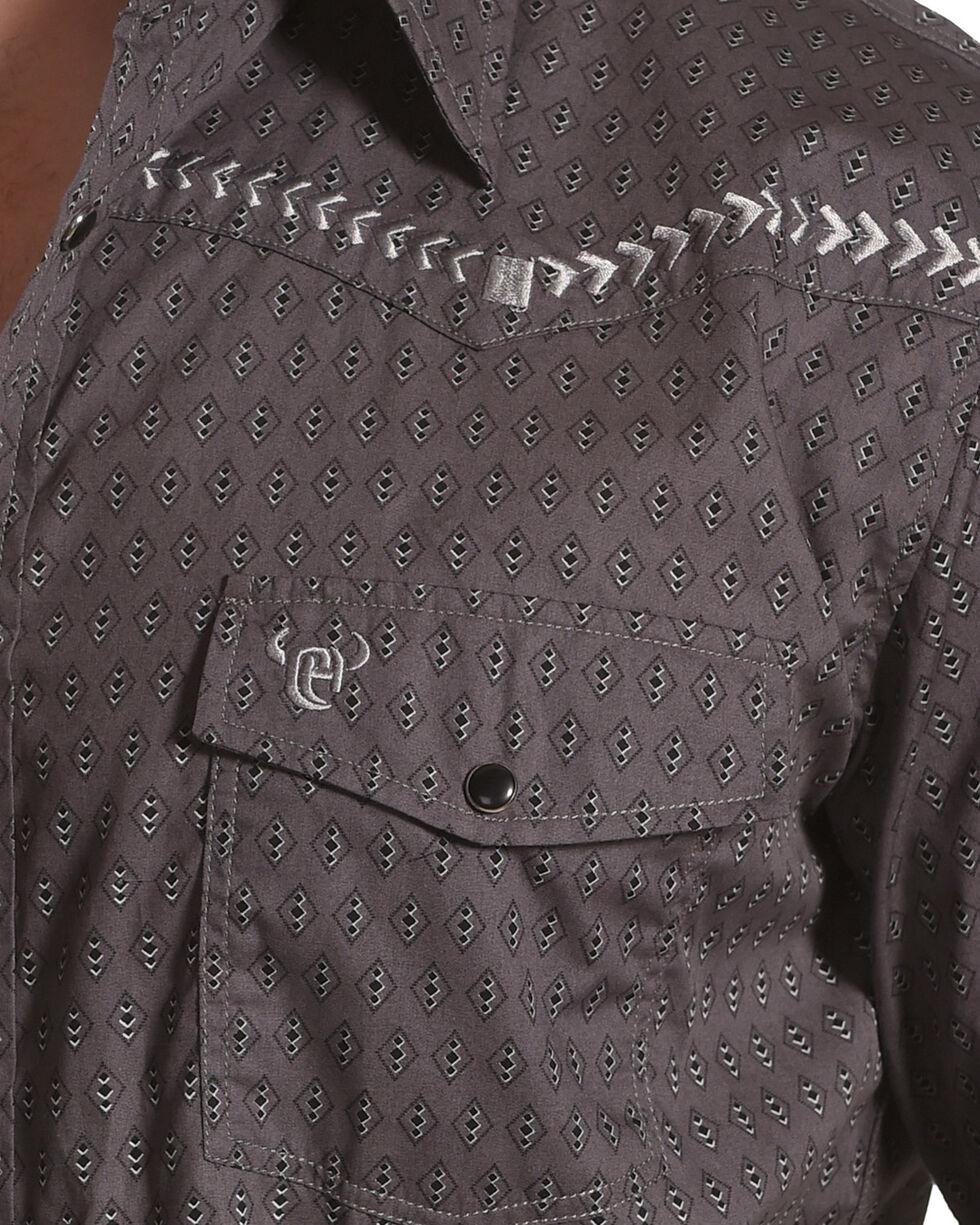 Cowboy Hardware Men's Charcoal Diamond Print Long Sleeve Western Shirt, Charcoal, hi-res