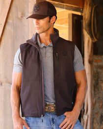 Hooey Men's Chocolate Softshell Logo Vest , , hi-res