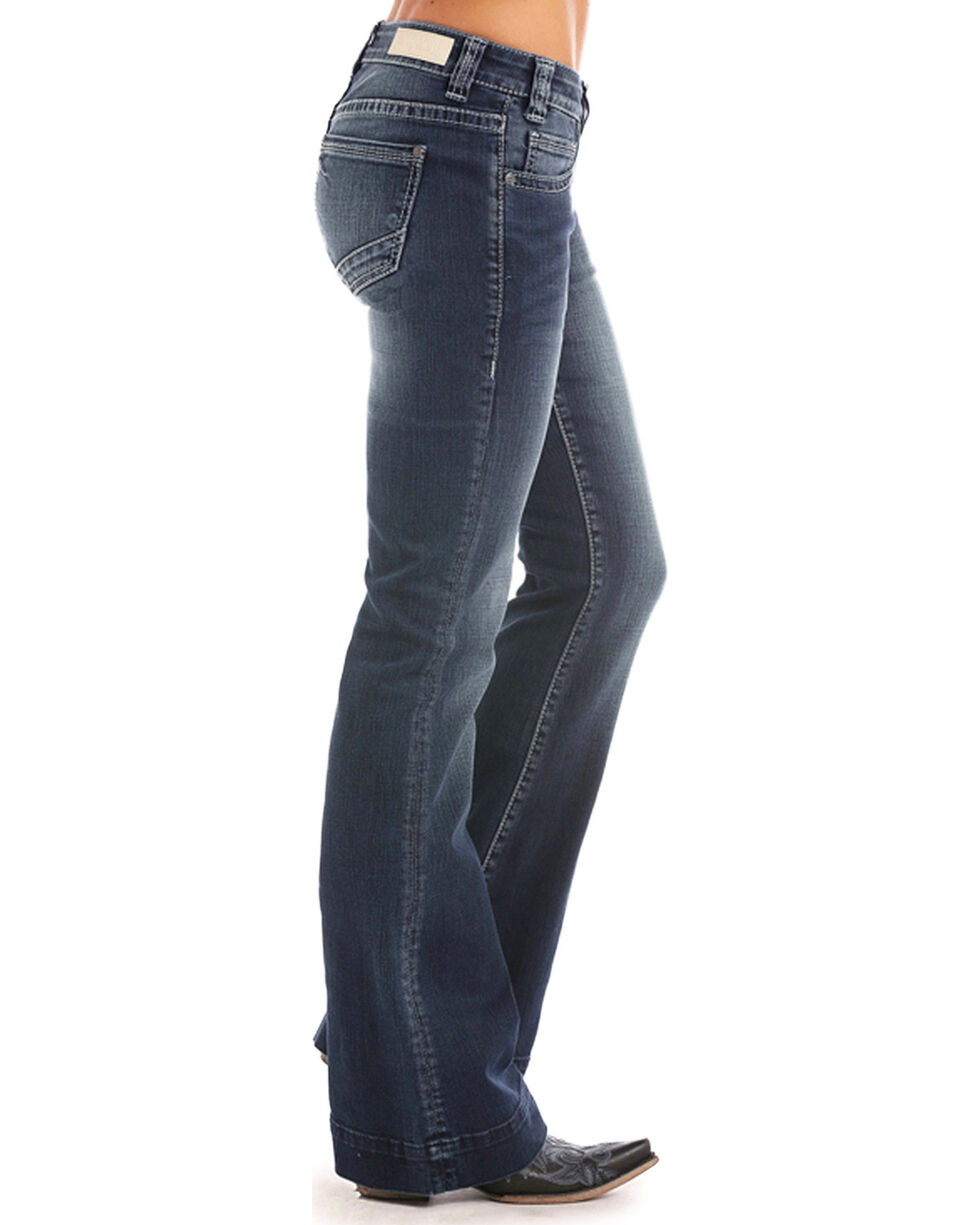 Rock & Roll Cowgirl Women's Ivory Stitch Trouser Jeans , , hi-res