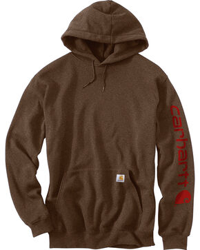 Carhartt Men's Hooded Logo-Sleeve Sweatshirt, Chocolate, hi-res