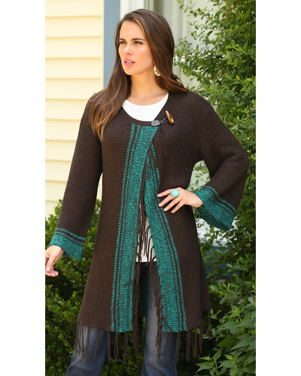Wrangler Women's Brown Wrap Fringe Cardigan , , hi-res