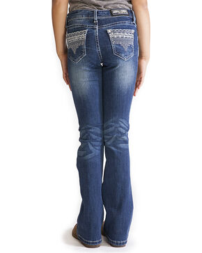 Grace in LA Girls' Blue Tess Embellished Pocket Jeans - Boot Cut , Blue, hi-res
