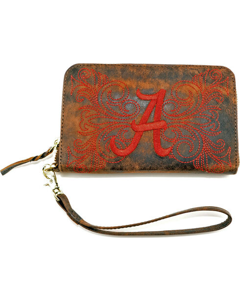Gameday Boots University of Alabama Leather Wristlet, Brass, hi-res