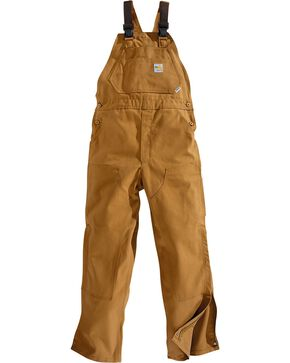 Carhartt Men's Flame Resistant Canvas Bib Overalls, Brown, hi-res