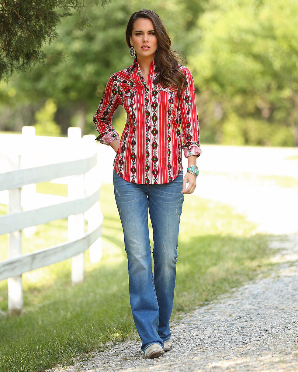Wrangler Women's Red Checotah Pattern Western Shirt , Red, hi-res