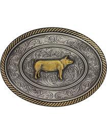Montana Silversmiths Prize Pig Classic Impressions Attitude Belt Buckle, , hi-res