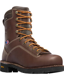 "Danner Men's Brown Quarry USA 8"" Work Boots - Alloy Toe , , hi-res"