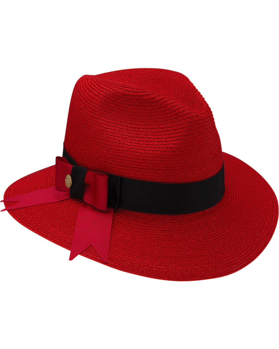 Stetson Women's Cat's Meow Hemp Braid Fedora Hat , Red, hi-res