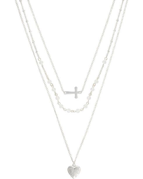 Montana Silversmiths Women's Triple Strand Locket Necklace, Silver, hi-res