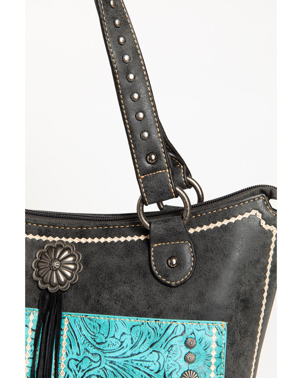 Shyanne Women's Tooled Tassel Tote, Black, hi-res