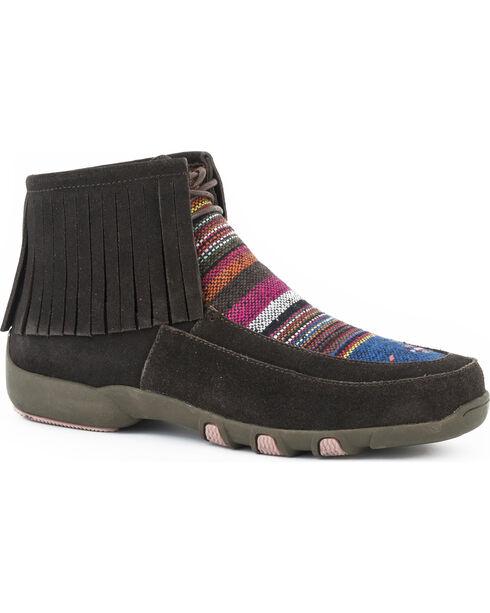 Roper Women's Suede Fringe Serape Shoes , Brown, hi-res