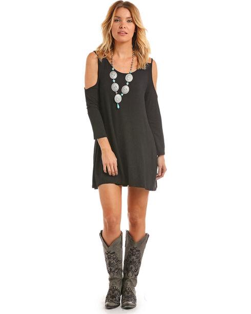 Panhandle Women's Black Double Strap Cold Shoulder Dress, Black, hi-res