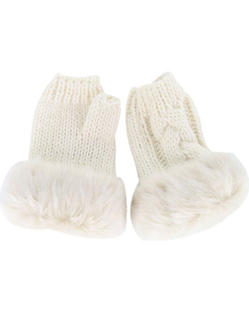 Shyanne® Soft Fur Trim Fingerless Gloves, Cream, hi-res