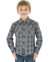 Wrangler Rock 47 Boys' Gray Plaid Snap Shirt, , hi-res