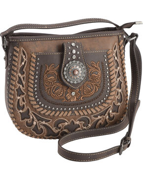 Montana West Women's Brown Floral Embroidered Crossbody , Brown, hi-res