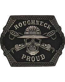 Montana Silversmiths Roughneck Proud Attitude Belt Buckle, Antique Silver, hi-res