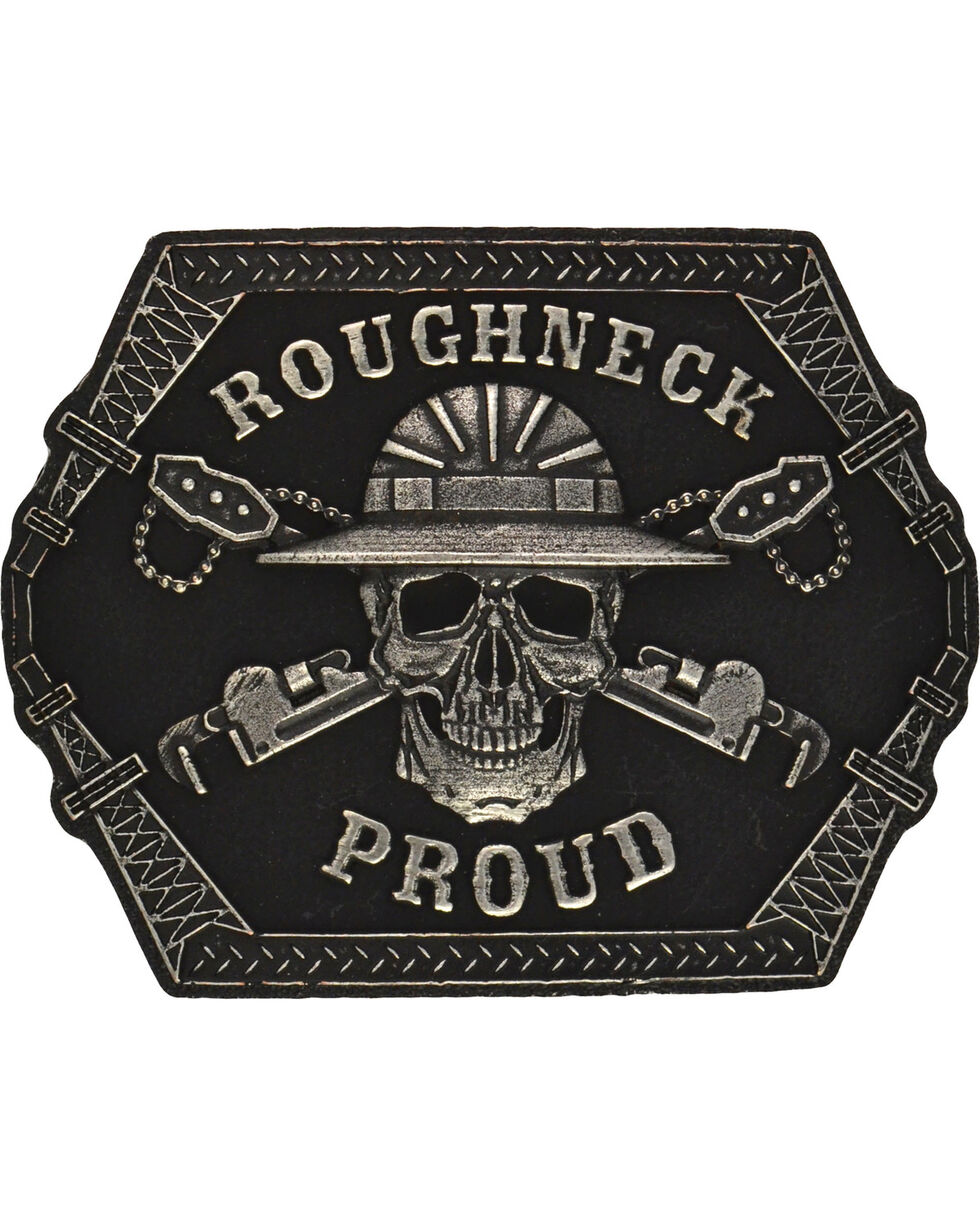 Montana Silversmiths Roughneck Proud Attitude Belt Buckle, Antique Silver, hi-res