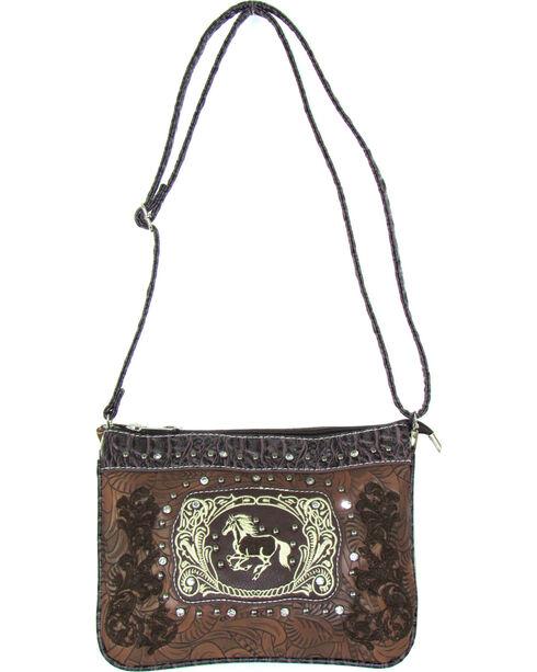 Savana Women's Brown Running Horse Embroidered Messenger Bag , Brown, hi-res