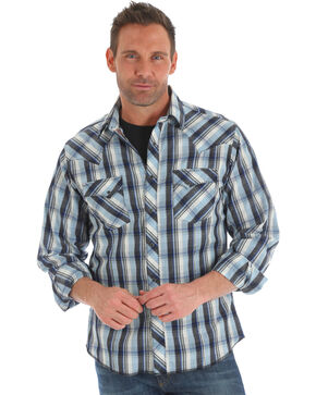 Wrangler Men's Blue Plaid Fashion Western Shirt , Blue, hi-res