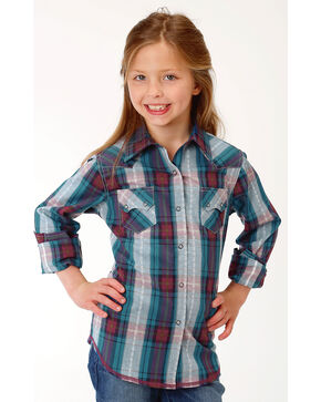 Roper Girls' Plaid Sawtooth Pocket Western Snap Shirt, Blue, hi-res