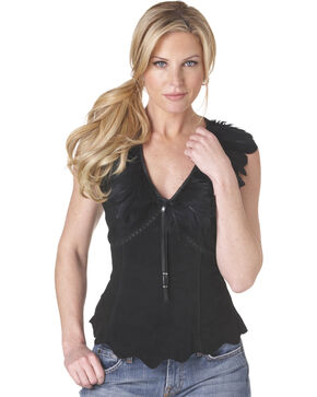 Cripple Creek Feather Trimmed Leather Shirt, Black, hi-res