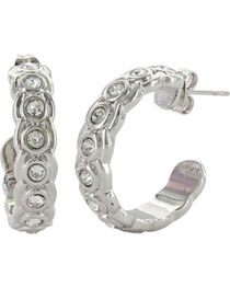 Montana Silversmiths Women's Silver Brilliant Horseshoe Hoop Earrings , Silver, hi-res