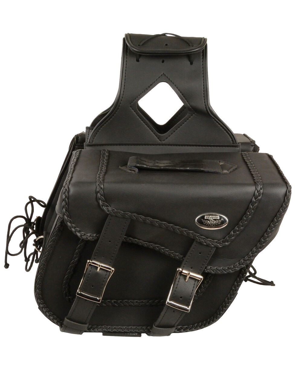 Milwaukee Leather Medium Braided Zip-Off Throw Over Saddle Bag, Black, hi-res