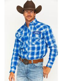 Wrangler Men's Blue Plaid Ford Logo Western Shirt , , hi-res