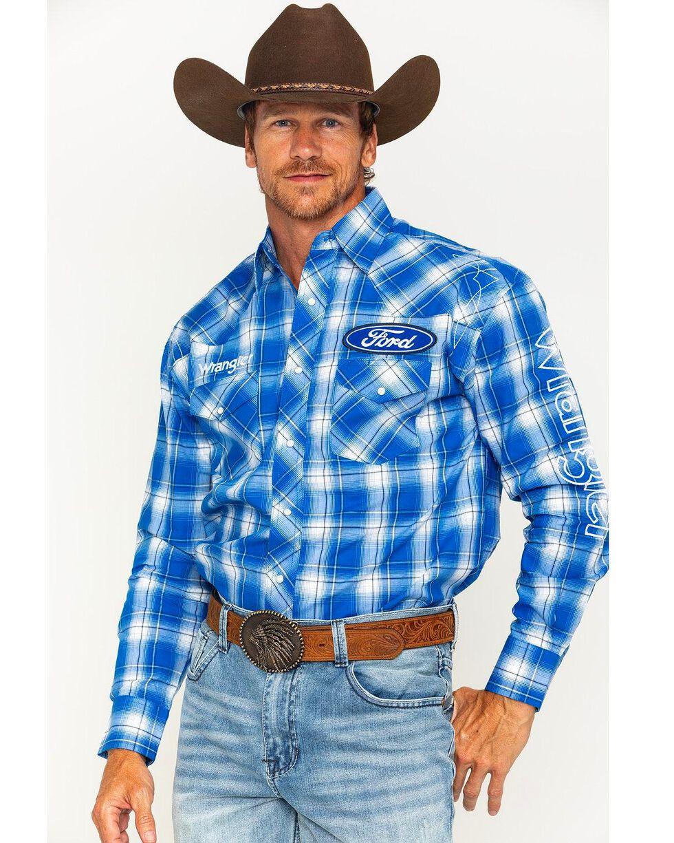 Wrangler Men's Blue Plaid Ford Logo Western Shirt , White, hi-res