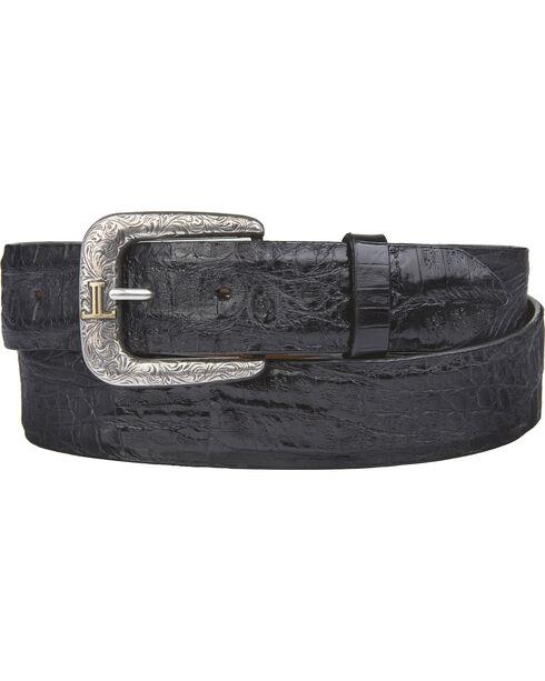 Lucchese Men's Black Hornback Caiman Leather Belt, Black, hi-res