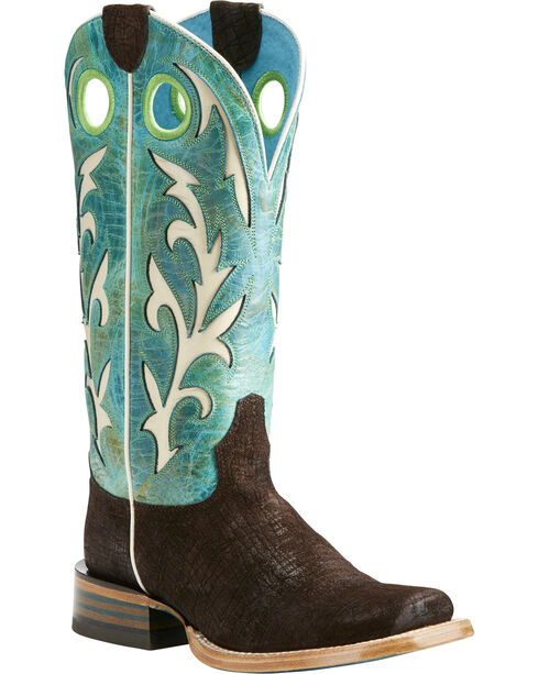 Ariat Women's Chute Out Chocolate Hippo Print Cowgirl Boots - Square Toe, Chocolate, hi-res