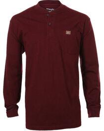 Wrangler Men's Riggs Workwear Burgundy Long Sleeve Henley - Tall, , hi-res