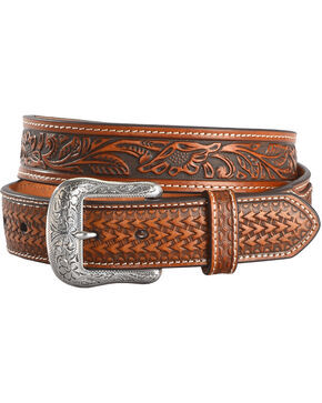 Cody James Men's Basket Weave Overlay Leather Belt, Tan, hi-res