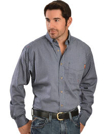 Ariat Men's Flame-Resistant Navy Check Long Sleeve Work Shirt, , hi-res