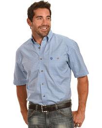 Wrangler George Strait Men's Blue Plaid Short Sleeve Shirt, , hi-res