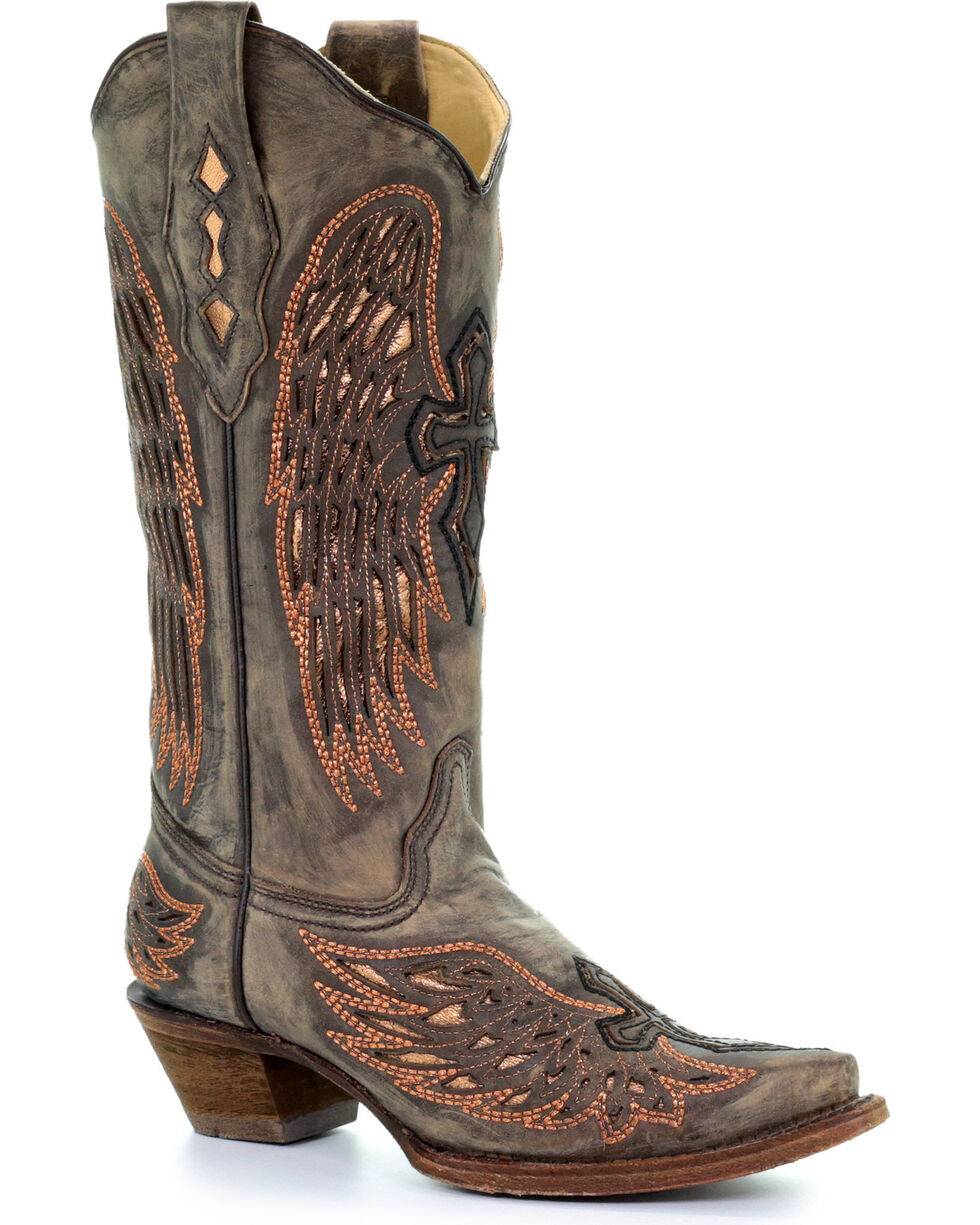 Corral Women's Sand Wings & Cross Inlay Cowgirl Boots - Snip Toe , Sand, hi-res